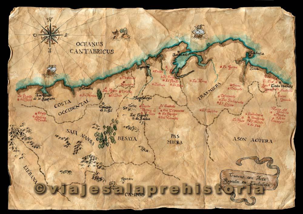 Mapa de cuevas con arte rupestre de Cantabria