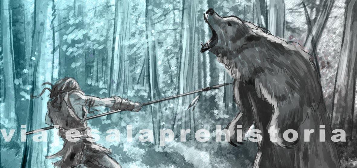 The fighting bear, prehistory illustrations